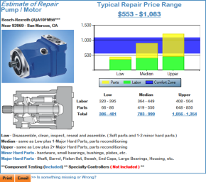 Pump Motor Hydraulic Repair Estimate