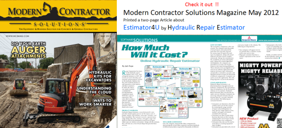 Magazine Article about Hydraulic Cylinder Repair Estimator